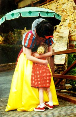 Snow White gives Autumn a hug