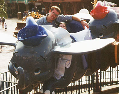 Chad and Wiley on the Dumbo ride