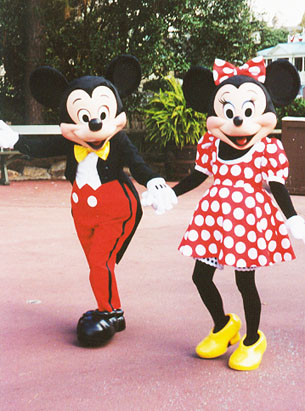 Mickey and Minnie out for a stroll in Frontierland