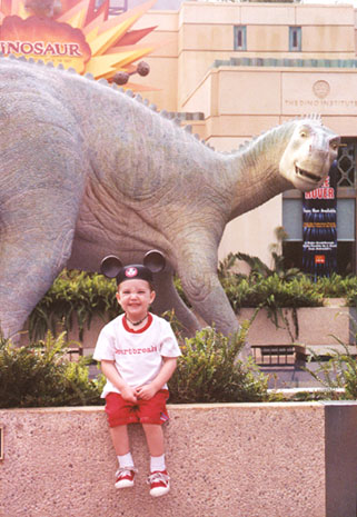 "Wiley by his favorite Dinosaur ""Aladar"""